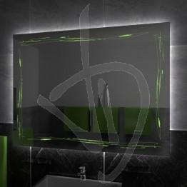 Specchio su misura, con decoro A034, inciso, colorato e illuminato e retroilluminazione a led