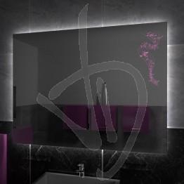 Specchio su misura, con decoro A026 inciso, colorato e illuminato e retroilluminazione a led