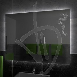 Specchio su misura, con decoro A026 inciso e illuminato e retroilluminazione a led