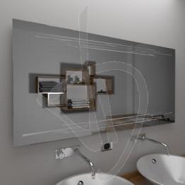 Specchio bagno, con decoro A033