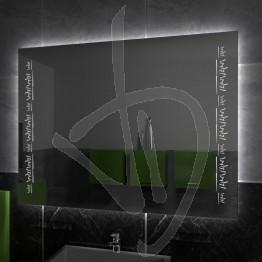 Specchio su misura, con decoro A038 inciso e illuminato e retroilluminazione a led