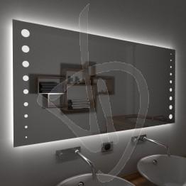 Specchio su misura, con decoro B016 inciso e illuminato e retroilluminazione a led