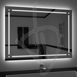 Specchio su misura, con decoro B018 inciso e illuminato e retroilluminazione a led