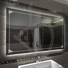 Specchio su misura, con decoro B001 inciso e illuminato e retroilluminazione a led