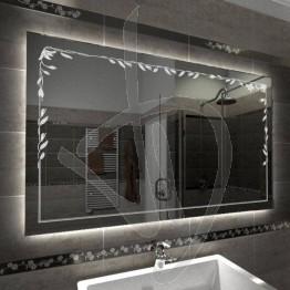 Specchio su misura, con decoro C015 inciso e illuminato e retroilluminazione a led