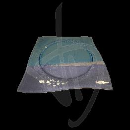 Piatto sagomato in vetro di Murano, tonalità viola e azzurra, realizzato a mano