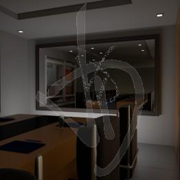 Specchio luminoso, con logo personalizzato e con cornice rivestita in legno, varie finiture