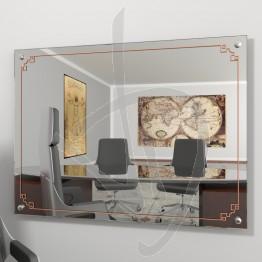 Specchio design, con distanziali e decoro B013